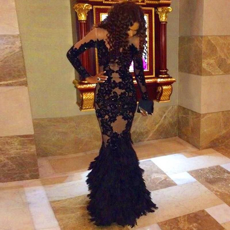 Robe De Soiree Mermaid Long Sleeves O Neck Black Lace Liques Beads Evening Dress With Ostrich