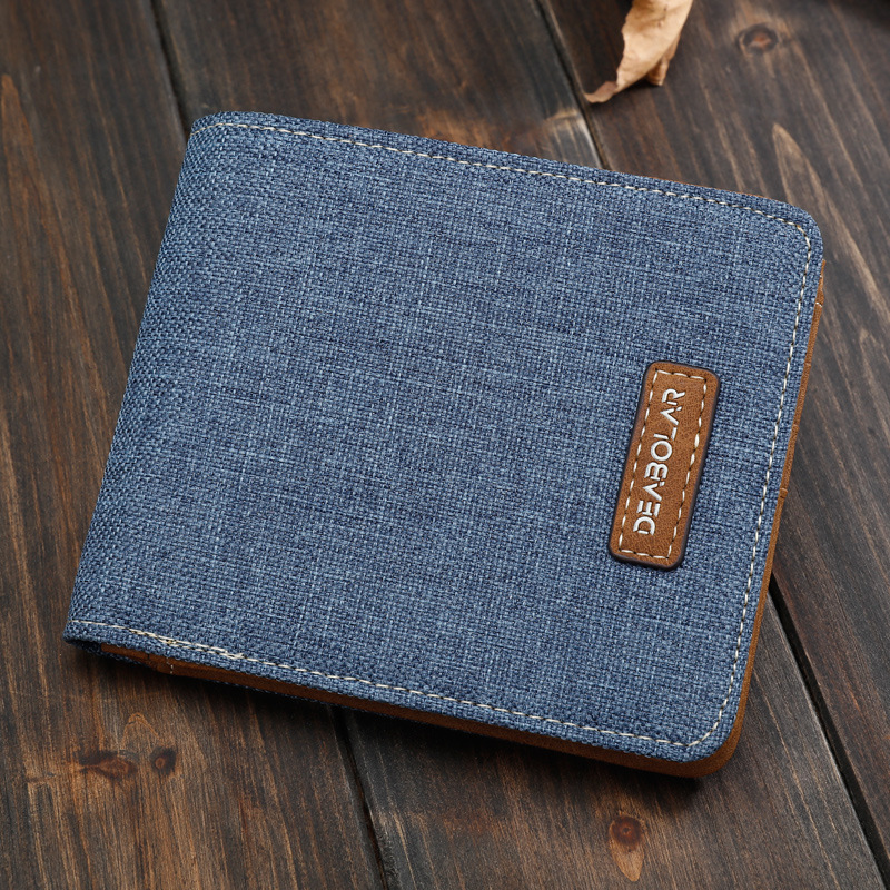 все цены на Vintage Mens Canvas Wallets Purse Fashion Card Holders Small Men Wallets Famous Brand 2017 Male Money Wallet Carteira Masculina