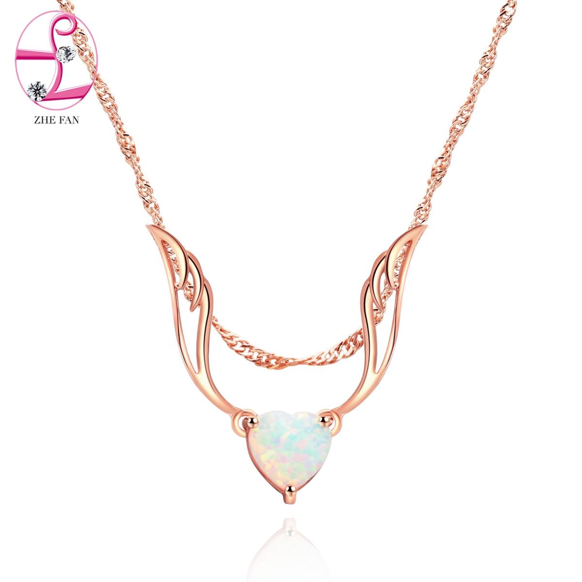 Zhe Fan Women Angel Wings Pendant Necklace White Heart