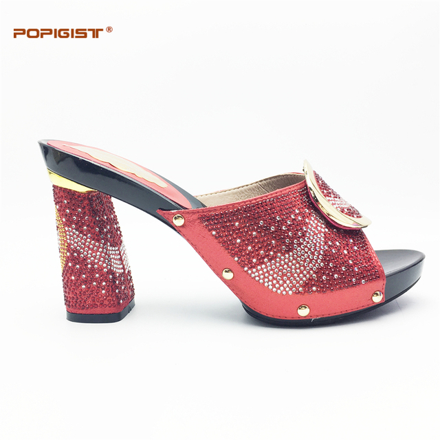 3edc7fc760f Ladies Shoes red color good quality Fashion design with Rhinestone Party  African popular shoes with hoof heels summer