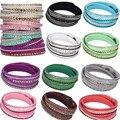 Women Fashion European Charm Rhinestone Crystal  Leather Bracelets & Bangles for Women Friendship bracelet Jewelry Gift