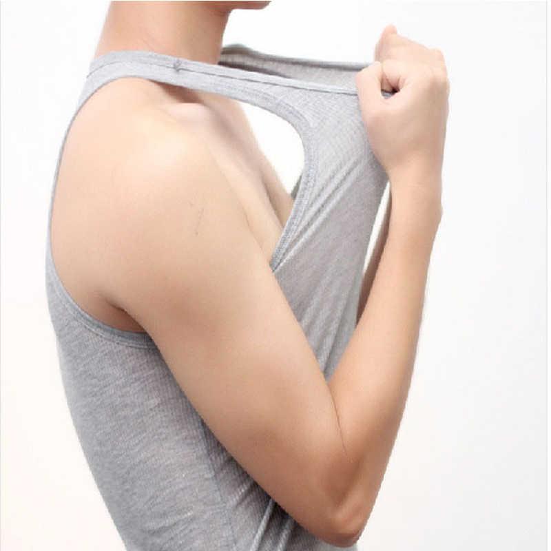 Mannen Hemd Mouwloos Katoenen Heren Ondergoed Vlakte Afslanken Vest Bodysuit Croset Singlet Terug Wit Grijs Casual