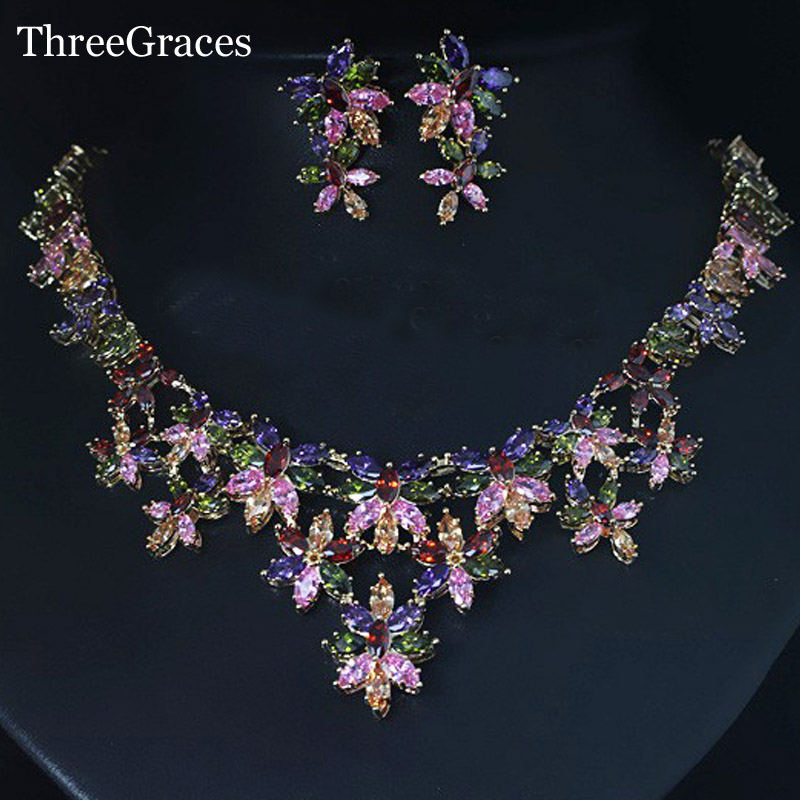 ThreeGraces Gold Color Multi Color Flower Cubic Zirconia Crystal African Costume Wedding Party Jewelry Sets For Women JS096 marulong s0002 women s fashionable flower pattern short sleeved nightdress green multi color