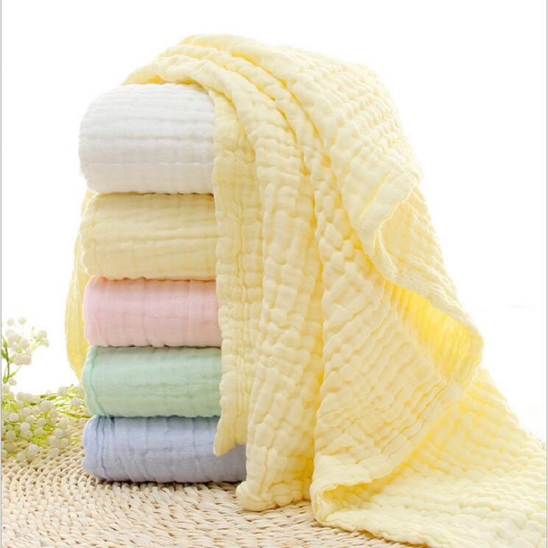 6 Layers Solid Color Baby Bath Towel Muslin 100% Cotton Towels Neonatal Child Absorb Blanket Swaddle Wrap Bedding 105 * 105 CM