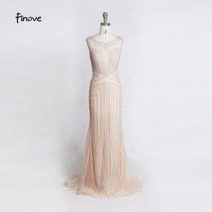 Image 2 - Finove 구슬 긴 이브닝 드레스 2020 섹시한 환상 오 넥 뒤를 통해 인어 바닥 길이 파티 드레스 정장 드레스 가운