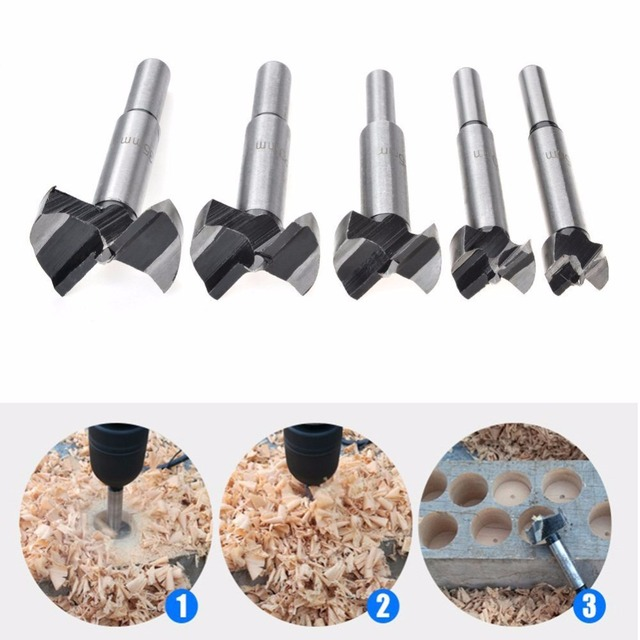 Forstner Wood Drill Bit Self Centering Hole Saw Cutter Woodworking Tools Set 15mm,20mm,25mm,30mm,35mm Forstner Drill Bits