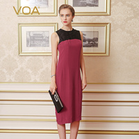 VOA 2017 Summer Fashion Brief Elegant Sleeveless Heavy Silk Lace Splicing Women Dress Slim Pencil Sheath Dress A0323