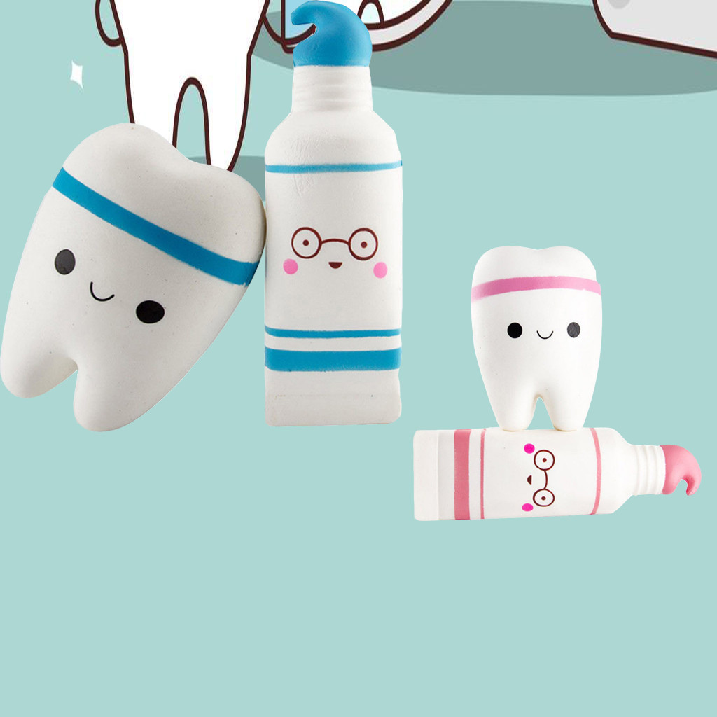 Soft Toothpaste And Tooth Scented Slow Rising Stress Reliever Squeeze Toys For Children Squish Antistress Kids Toys W516