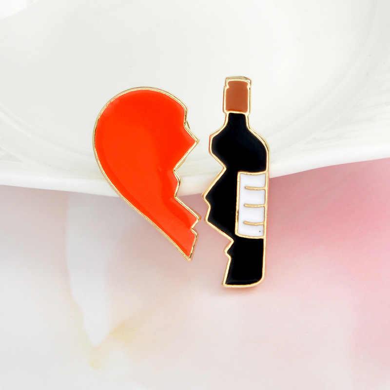 Crazy Feng 2 ชิ้น/เซ็ตการ์ตูนรักสีแดงสีดำไวน์ขวดน้ำมันหยดเข็มกลัด Pin สำหรับ DIY ปุ่ม Denim แจ็คเก็ตเข็มกลัด Pins ของขวัญ