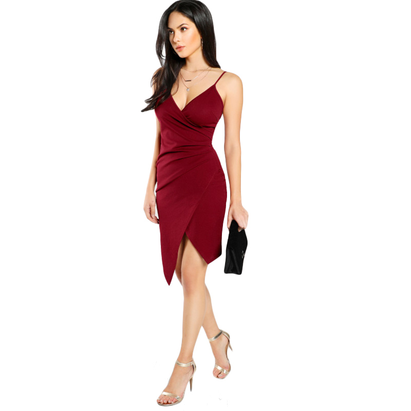 COLROVIE Ruched Overlap Form Fitting Cami Dress 2017 Burgundy Spaghetti Strap Sleeveless Slip Asymmetrical Party Dress With Zip 12