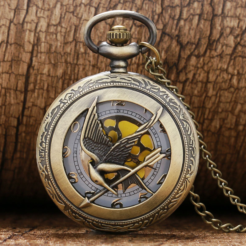 online get cheap antique mens gold pocket watch aliexpress com cool hollow bird design gold dial quartz fob pocket watch necklace chain for hungry game
