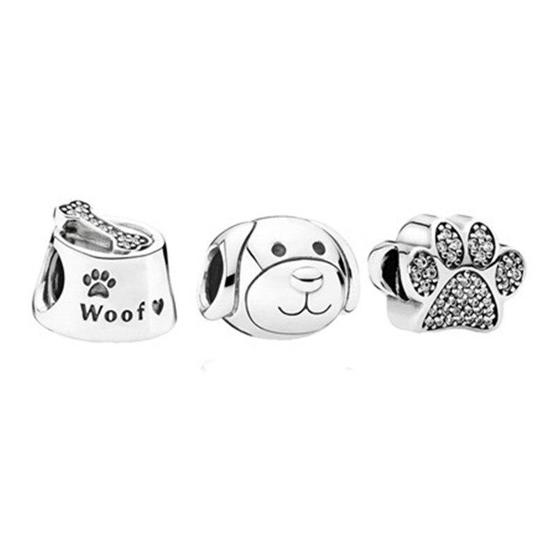 Woof os bol Pet chien patte perles breloque ensembles pour bracelets à breloques amour signe argent 925 bijoux perles perlées pour les femmes faisant bricolage