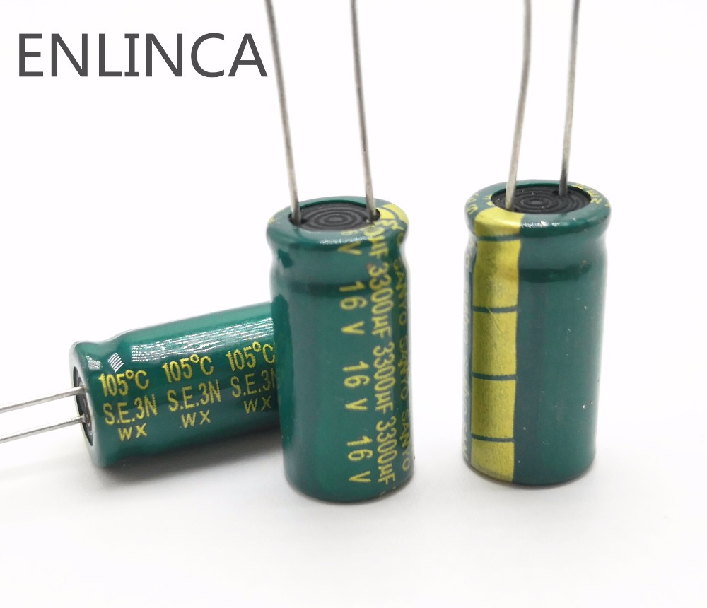 5~40pcs/lot H055 3300uf16V High-frequency Low-impedance Aluminum Electrolytic Capacitor 16V 3300uf 20%