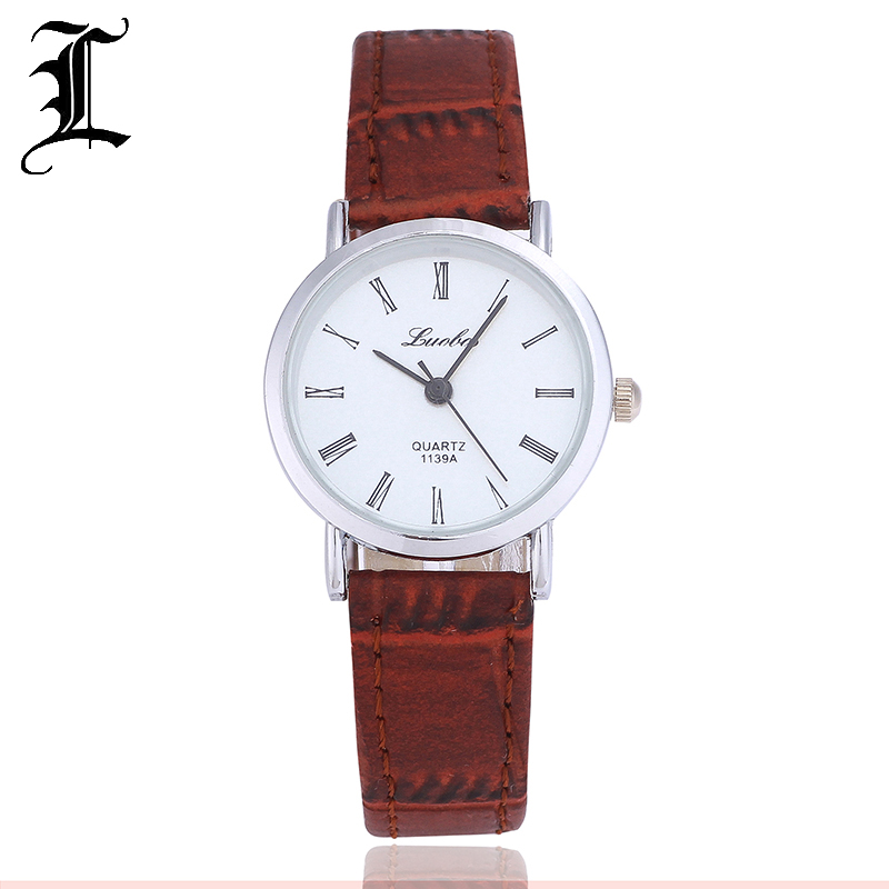 Luobos New Fashion Watch Women and Men Leather Strap Roman Style Casual Quartz Watch Ladies Popular Clock Relogio Feminino