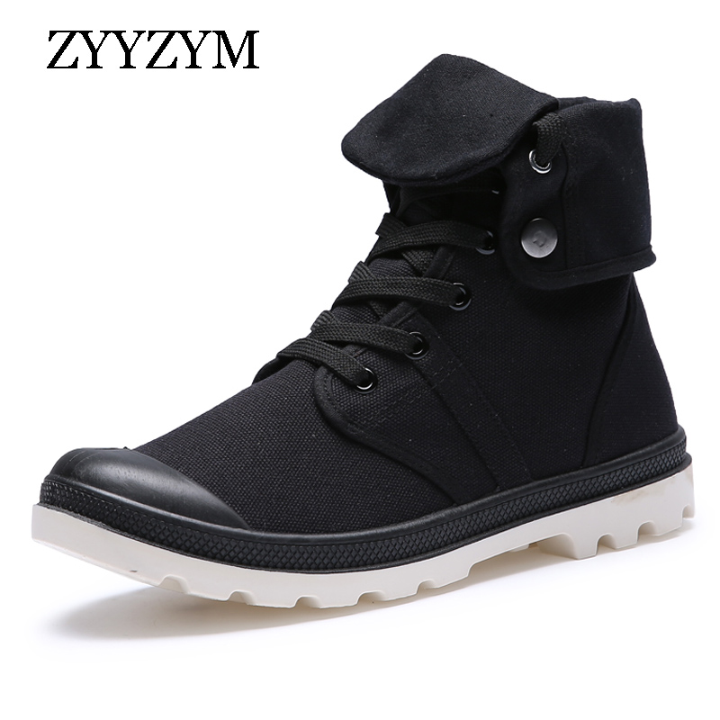 ZYYZYM Men Boots Spring Autumn Lace-up Style Canvas Fashion Military Boots Youth Rubber Working Safety Boots