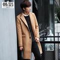 Nuevo abrigo de paño de invierno masculina abrigo de solapas, largo paño de lana en la ropa de los hombres