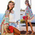 2016 New Womens Chiffon Floral Cardigan Blouse Tops Tassels Beach Cover Up