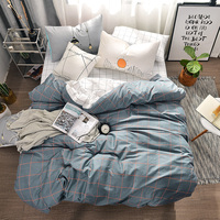 Red lines print Simple style bedding set cotton fabric 3/4pcs Twin Queen Size duvet cover flat sheet pillowcase