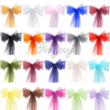 25PCS Organza Chair Sash Sashes Bow Cover Banquet Wedding Pa