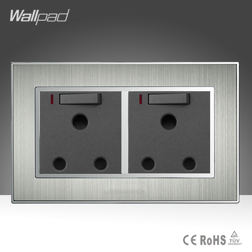 Hot Double UK 15A Switched Socket Wallpad Satin Metal AC 110-250V Double 15A Wall UK Soutch Africa Switched Socket with LED Neon uk socket wallpad crystal glass panel 110v 250v switched 13a uk british standard electrical wall socket power outlet uk with led