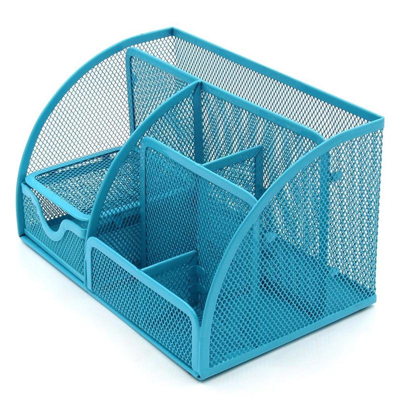 Steel Mesh Wire Desk Organizer Home Office Caddy Storage Box 7 ...