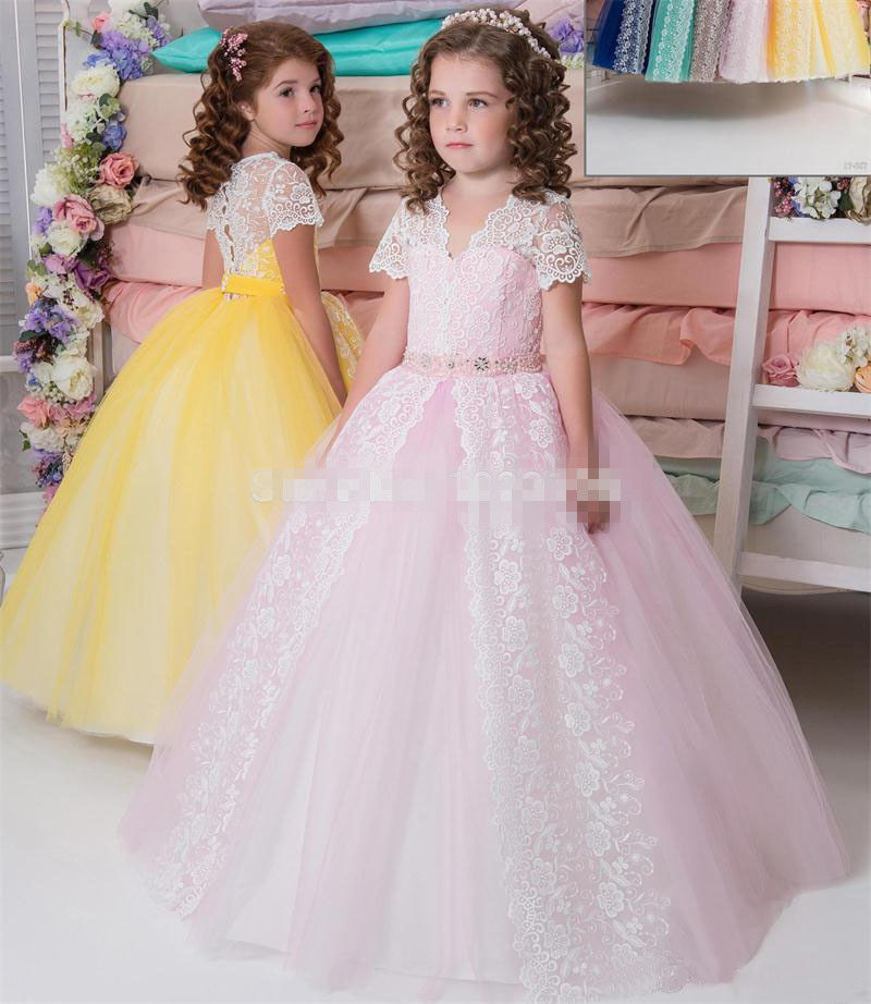 New Pink Girls Dresses Puffy Tulle Lace Appliques Ball Gown V Neck Girls Christmas Dress Pageant Birthday Party Gown Kids Cloth