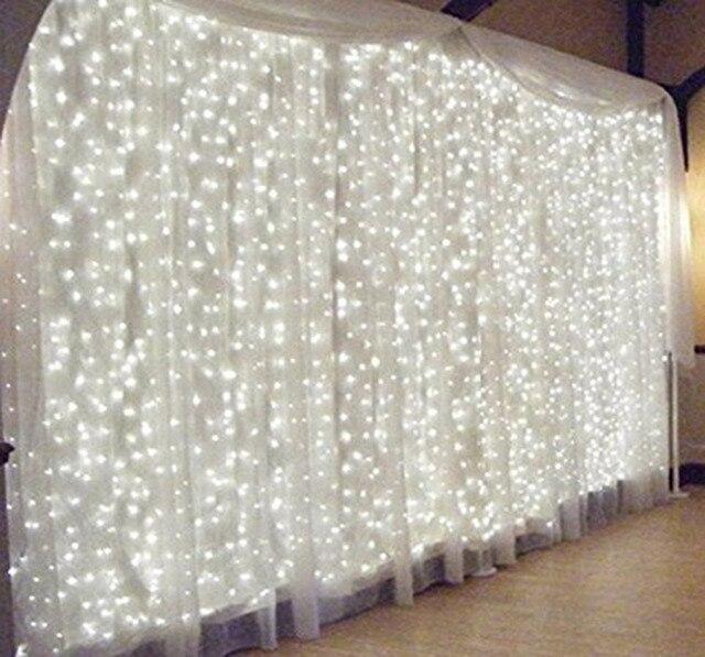Xmas 6Mx3M 600 LED Curtain Lights String Warm White Fairy Wedding Icicle Party