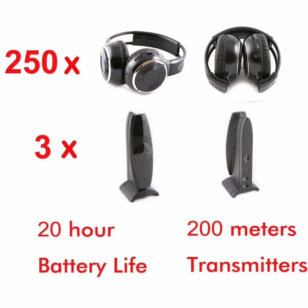 Беспроводной Silent disco складные наушники 250 шт. с 3 Передатчики для DJ Вечерние
