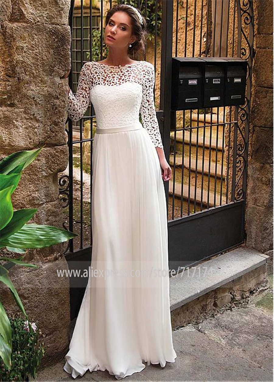 Image 2 - Elegant Lace & Chiffon Bateau Neckline A Line Wedding Dress With Belt Long Sleeves Open Back Bridal Dress women-in Wedding Dresses from Weddings & Events