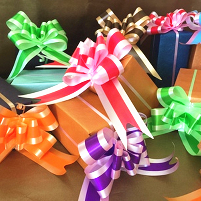 10pcs/lot Christmas Gift Wrap Pull Bows Gift Ribbons Happy New Year Birthday Party Decoration Supplies Wedding Car Decoration