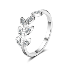 Everoyal Fashion 925 Sterling Silver Rings For Women Accessories Trendy Zircon Leaf Girls Finger Jewelry Female Birthday
