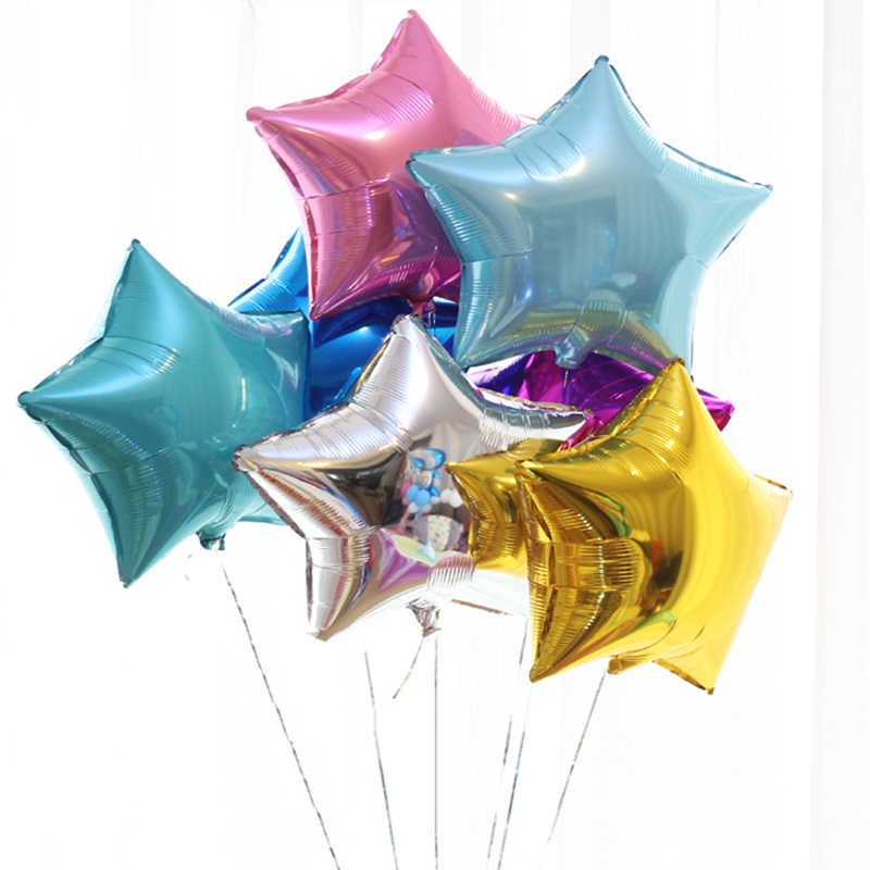 10 Pcs Shower 18 inch Many Color Star Helium Foil Balloons Girls Happy Birthday Party Supplies 1st Party Decoration Air Ball