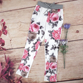 New Arrival Women Fashion Floral Printed Slim Pencil Pants Casual Drawstring Pockets Trousers