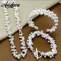 ANDARA Wholesale Fashion 925 Silver Jewelry Sets For Women Bracelet Bangles Necklace Jewelry Set E034