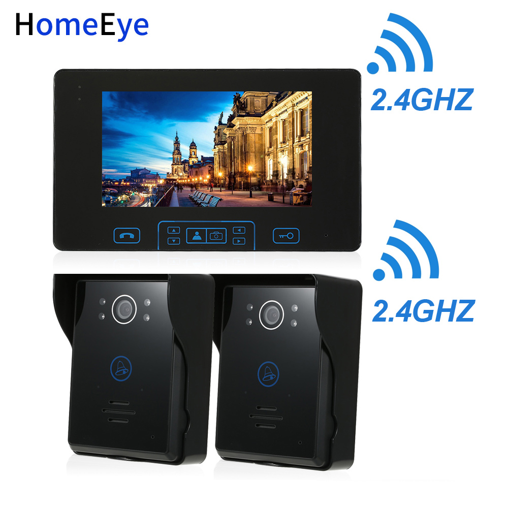 HomeEye 2.4GHz Digital Wireless Video Door Phone Doorbell Intercom Access System Built-in Battery 7''TFT LCD Touch Key Rainproof
