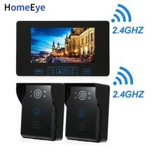 HomeEye 2.4GHz Digital Wireless Video Door Phone Doorbell Intercom Access System Built-in Battery 7''TFT LCD Touch Key Rainproof aj 138 7 lcd wireless video door phone black us plug