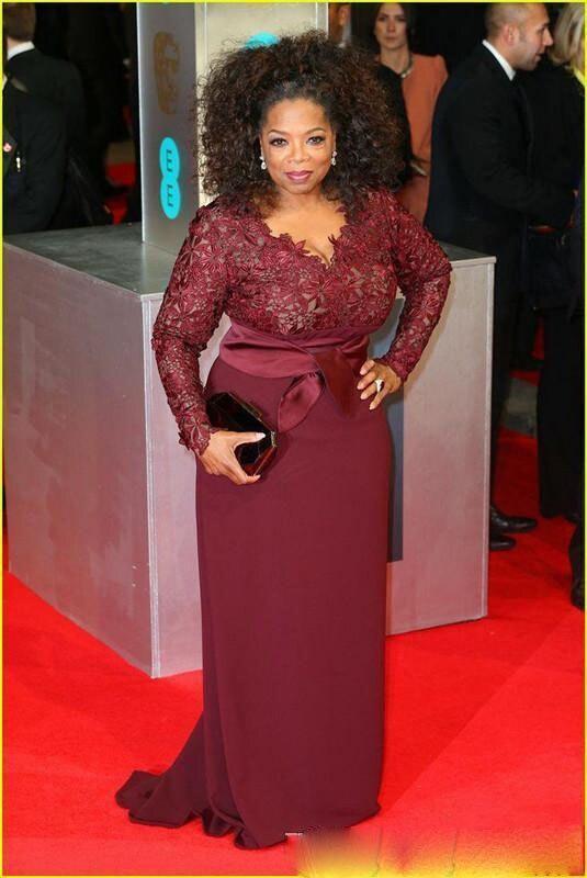 Mariée Manches Winfrey La Bourgogne Taille 2018 Célébrité Modeste Longues Tapis Personnalisé Plus Robes Soirée Oprah Mère De Rouge ftw5q5z8n