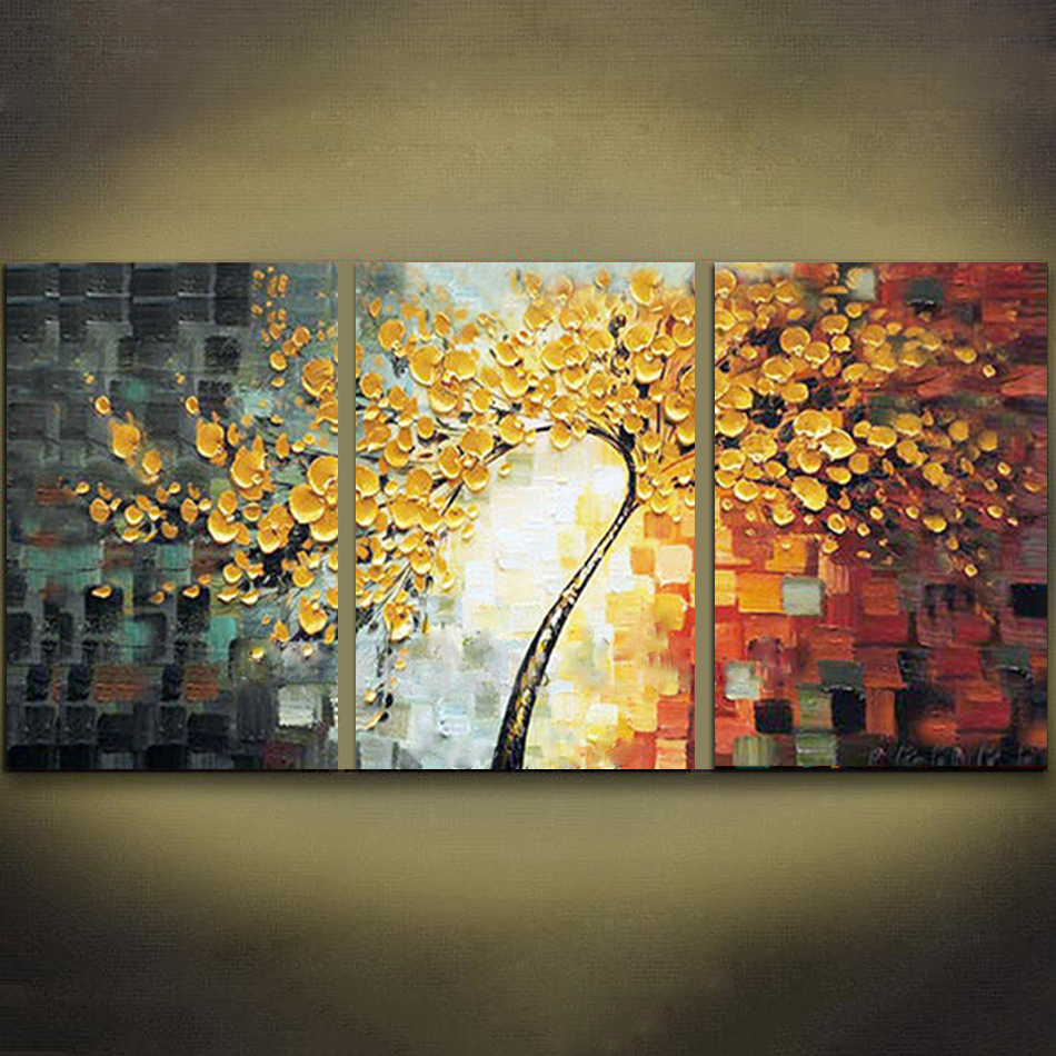 Unframed 3 Panels Yellow Rich Tree Palette Knife Painting