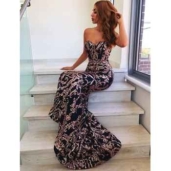 Sexy Strapless Mermaid Dresses Silver Gold Sequined Black Party Dress Backless Strapless Bodycon Stretchy Evening Maxi Dress - DISCOUNT ITEM  45% OFF All Category
