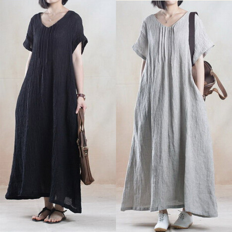 Summer dress 2015 new soft robe longue femme casual loose long linen cotton maxi V-neck gray black vintage women dresses