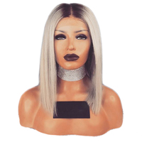 EEWIGS Ash Blonde Lace Front Wig With Dark Roots 14Inch Short Bob Straight Wig 180density Ombre Synthetic Wigs For Black Women