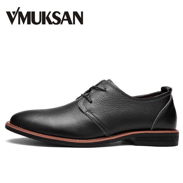 ee8ba5a9b VMUKSAN Marca negócio tenis masculino adulto Alta qualidade sapato masculino  couro 2017 Novo desenhista sapato masculino