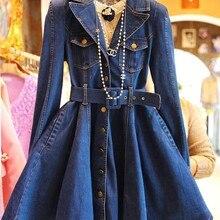 Весенне-осеннее женское модное приталенное короткое джинсовое платье с длинными рукавами для девушек