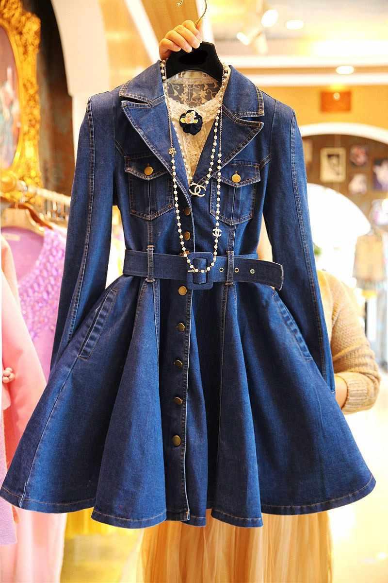 אביב סתיו גבירותיי נשים ילדה אופנה מלא שרוולים slim קצר ג 'ינס שמלה
