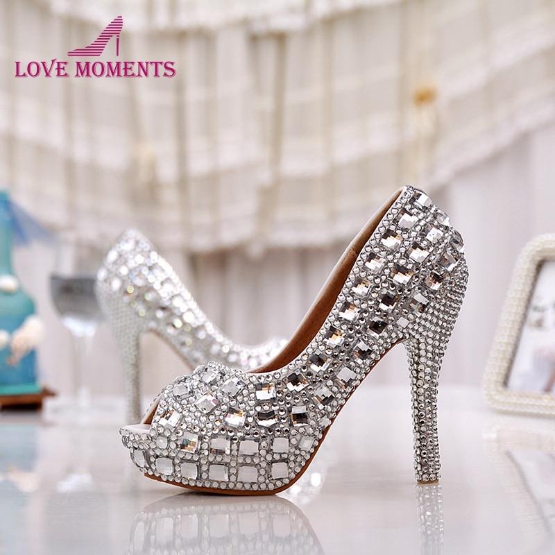 Partie Pouces Chaussures Mariée Talons Handmake Silver Strass Couleur Haute Élégant Mariage 5 Bal Argent Toe Peep Heels 12cm De Femmes Cristal 7CwIq4