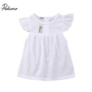 2018 Brand New Toddler Infant Kids Baby Girls Tutu Dresses Spotted Summer Sundress Dress Sleeveless Solid White Clothes 3M-3T(China)