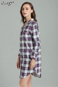Image 4 - Plus Size 100% Katoen Vrouwen Flanel Vriendje Nachthemd Nachtjapon Nachthemd Roze Plaid Kat Nachtkleding Sleepshirt Nightgowns