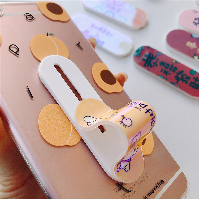 Universal Phone Socket Stand Bracket Push And Pull Stand Stretch Grip Phone Holder Finger Cute Cartoon Stand For Iphone 7 8 X