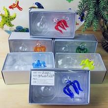 6pcs hot hand Murano glass octopus small statues home aquarium decorative pendant float glass fish animals figurines sets