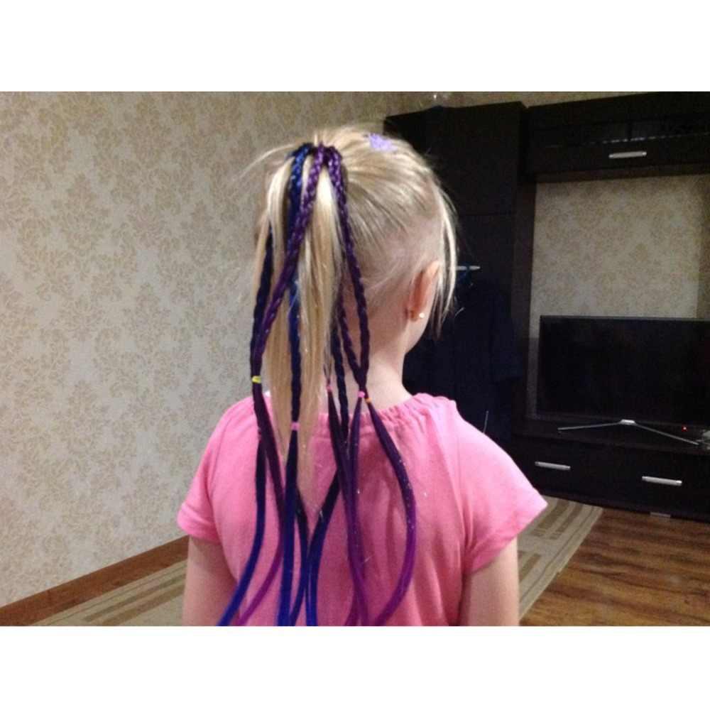 Аксессуары для волос, резинка для волос для девочек, Разноцветные длинные косички, эластичные резинки для волос, синтетические резинки для волос